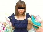 ◆美巨乳美女リリ◆紺色にドット模様のワンピース&パンティー&サンダル◆