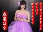 ◆春菜はな◆ウェディング紫ドレス+マゼンタ花刺繍入黒ブラパン+紫ガータータイツ 計4点セット
