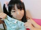 ★ロリ顔巨乳めいちゃん★(オナ済み)トリコット素材のライトグリーンのパンティ