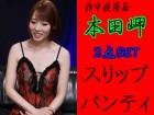 ☆本田岬☆赤薔薇柄入黒スリップ+同Tバックパンティ 計2点セット