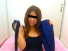 ★人妻えみちゃん☆黒のパンスト&黒のキャミソール&青色のタイトスカート★
