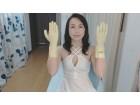 SMの女王様氷高-ひだか-Sの私物で左手用2個セットのサイン入りゴム手袋(黄緑)