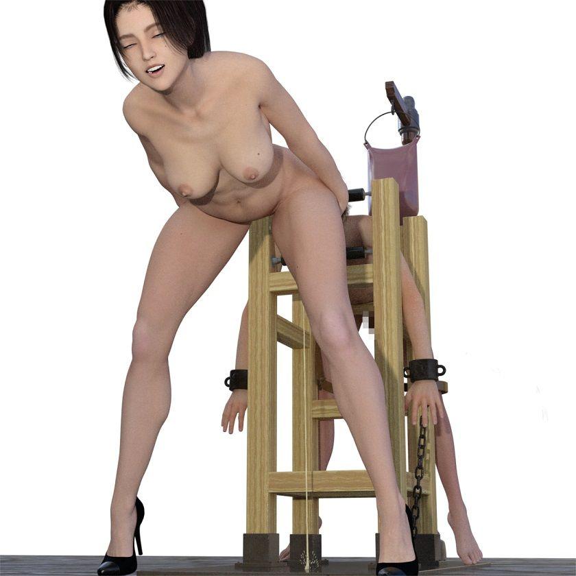 首を吊られミストレスにご奉仕、さらにムチで尻を叩かれ、最後はペニバン