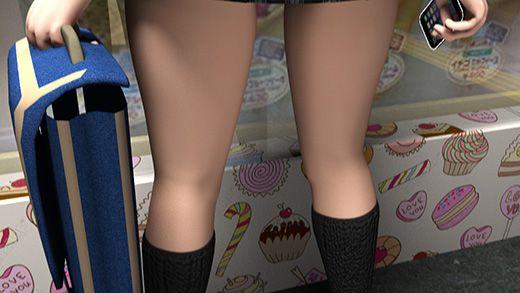 駅構内にオープンしたクレープ屋。そこでクレープを買っているスカートの超短い女の子を発見!後ろからスカート内を盗撮してみた。(PV:水色パンティ編)