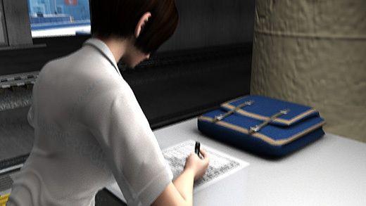 クレープ屋の会員登録用紙を書いている激ミニちゃん。机の脚の部分がピカピカの鏡なせいで、スカート内が前から丸見えだった件。(PV:水玉パンティ編)