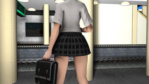 登校中駅のホームで待っていたら特急が通過したためにものすごい風圧でミニスカートが捲れまくっているのに激ミニちゃんは全然気にしない件。(PV:薄紫色のパンティ編)