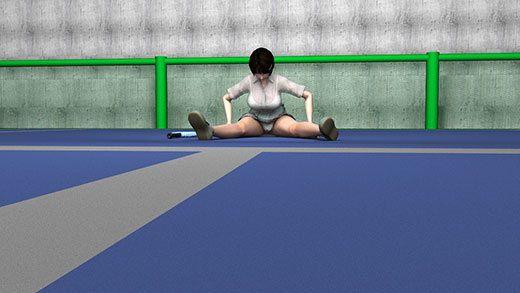 テニスの練習を終えて整理運動をしている激ミニちゃんの開脚ストレッチ中の股間パンチラをこれでもかというくらいにズームアップして盗撮したエロ動画(純白下着編)