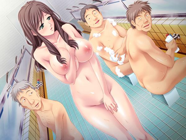 銭湯の男湯に入浴させられる人妻〜清楚巨乳妻がオヤジの群れの粘着責めで牝喘ぎ〜〔Norn / Miel / Cybele〕