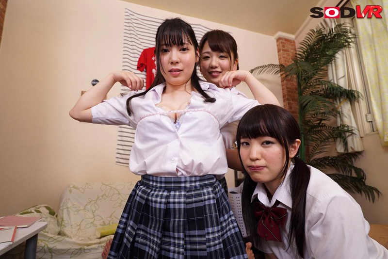 【VR】妹が巨乳の友達を連れてきて僕の部屋で勉強会。パンチラ胸チラ見放題の中、巨乳に見とれる僕にブラコンの妹が嫉妬!それを面白がり友達の誘惑がエスカレートしそのままエッチに突入!妹も交えて4Pハーレムセックス! の画像2