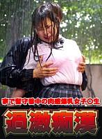 「家で留守番中の肉感爆乳女子○生 雨に打たれながら痴○師に乳首をいじられ続けS字反りイキする敏感巨乳女子○生」のパッケージ画像