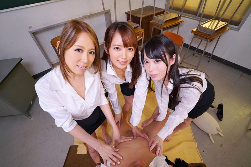 【エロVR】女教師3人が童貞チ○ポをハーレム性教育!スケベな先生全員と中出しセックス