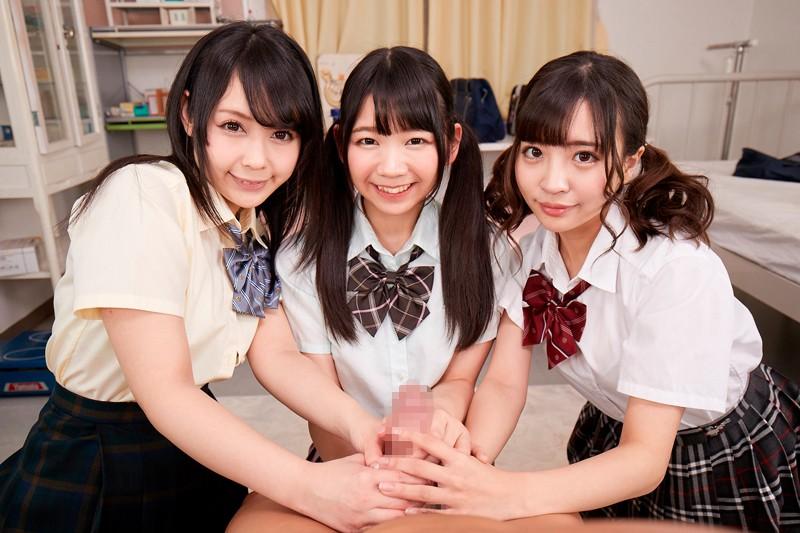 【エロVR】美少女三人組が先生をエッチなイタズラで誘惑→我慢できずに4P生中出しセックス