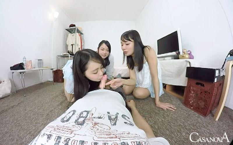 【VR】女友達3人の悪ふざけでフェラ童貞卒業画像2