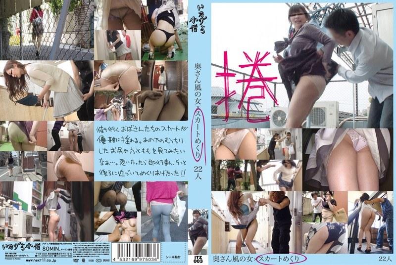 美脚の奥様のパンチラ無料熟女動画像。奥さん風の女×スカートめくり