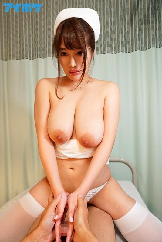 ノーブラ爆乳おっぱいで発情勃起させちゃうJカップ100cmナース 「胸が大きすぎてナース服の下にブラつけられません」おっぱい出ちゃう… 益坂美亜 の画像9