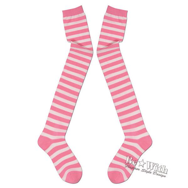 ニーハイ★ストロベリー2 白とピンクのボーダーニーハイソックス