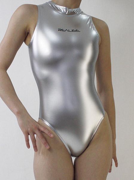 ハイネック水球用水着ノーマルバック【オリジナル光沢ラバー素材】Lサイズ・シルバー