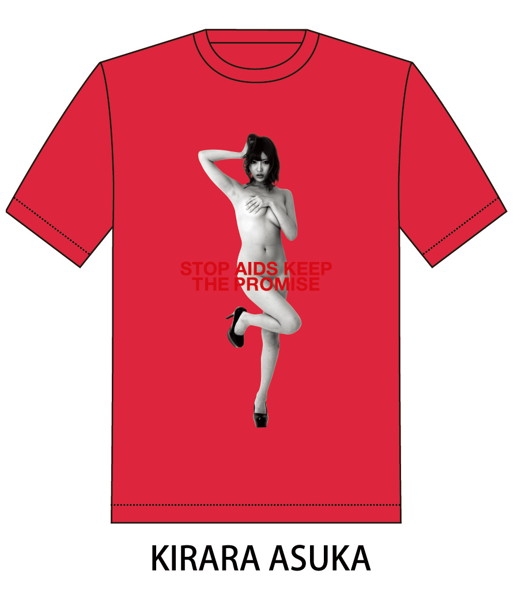 RED RIBBON T-SHIRT(サイズXL/レッド)モデル:明日花キララ