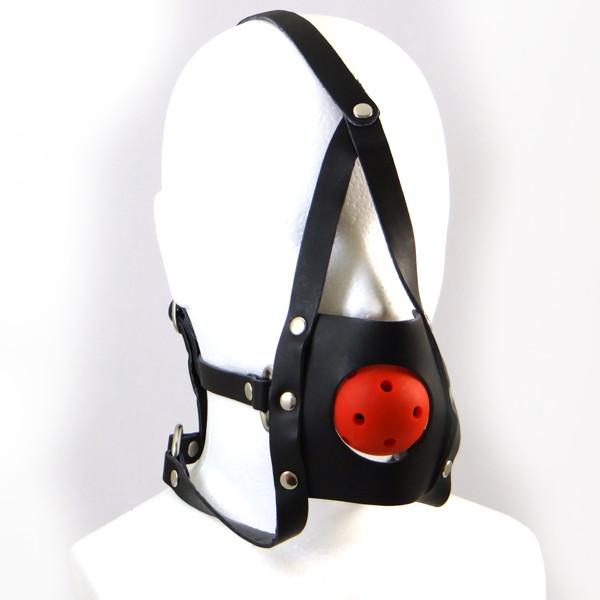 LEATHERWORKS 012 口枷・ボールギャグ/顔面固定式(本革製/黒)