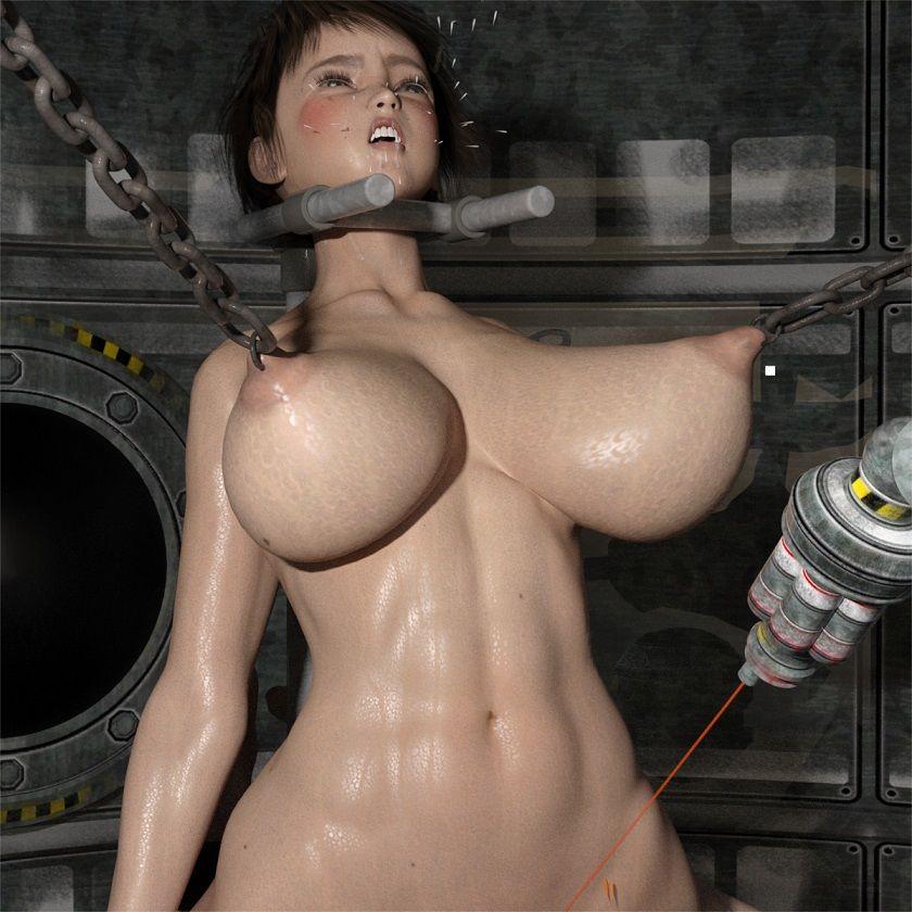 SFみたいな部屋に監禁され、レーザー光線でいたぶられる筋肉巨乳美女