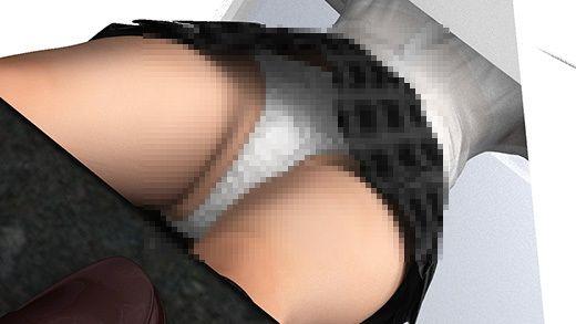 【Libido-Labo 同人】クレープ屋の会員登録用紙を書いている激ミニちゃん。机の脚の部分がピカピカの鏡なせいで、スカート内が前から丸見えだった件。(PV:純白パンティ編)