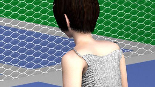 テニスの練習中に集中して構えている激ミニちゃんの顔やらナマ脚やらユサユサ揺れまくる巨乳の透けるド...のサンプル画像2