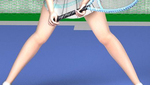 テニスの練習中に集中して構えている激ミニちゃんの顔やらナマ脚やらユサユサ揺れまくる巨乳の透けるド...のサンプル画像3