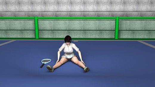 テニスの練習を終えて整理運動をしている激ミニちゃんの開脚ストレッチ中の股間パンチラをこれでもかと...のサンプル画像3