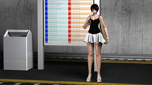 (PV:残念!スカパン重ね履きしてました編)駅で遭遇した超絶劇ミニフレアスカート女子大生?をカバンに...のサンプル画像3