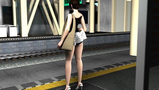 (PV:残念スカパン履いてました編)駅で遭遇した超絶劇ミニフレアスカート女子大生?が地下鉄の通風口の...のサンプル画像3
