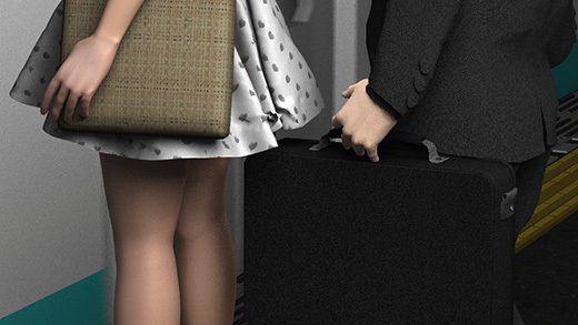(第三者・犯人・戦利品の三点セット:PV黒地ハートパンティ編)ガラガラの駅で超ミニスカートの女子大生...のサンプル画像1