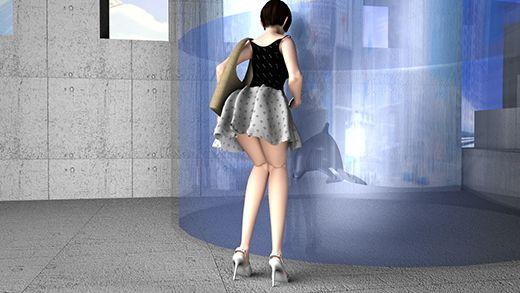 水族館でのデートの際、イルカが寄ってきてはしゃぐ彼女。そのとき神風が吹き、彼女のスカートが捲れ上...のサンプル画像2