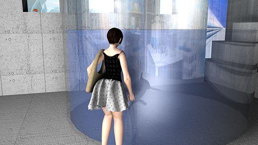 水族館でのデートの際、イルカが寄ってきてはしゃぐ彼女。そのとき神風が吹き、彼女のスカートが捲れ上...のサンプル画像3