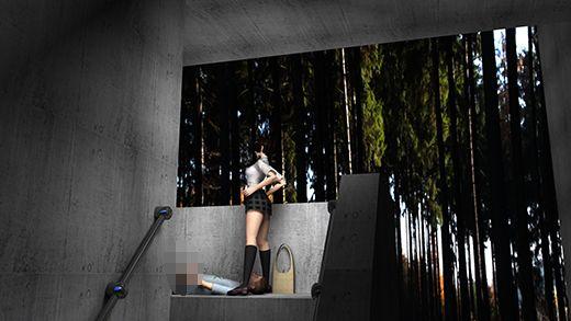 人通りのない水族館の奥の場所で、仰向けに寝転がった彼氏の顔をミニスカートで跨いでオナニーの手伝い...のサンプル画像1
