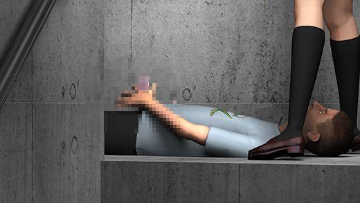 人通りのない水族館の奥の場所で、仰向けに寝転がった彼氏の顔をミニスカートで跨いでオナニーの手伝い...のサンプル画像2