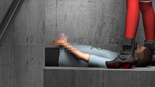 人通りのない水族館の奥の場所で、仰向けに寝転がった彼氏の顔をミニスカートで跨いでオナニーの手伝い...のサンプル画像3