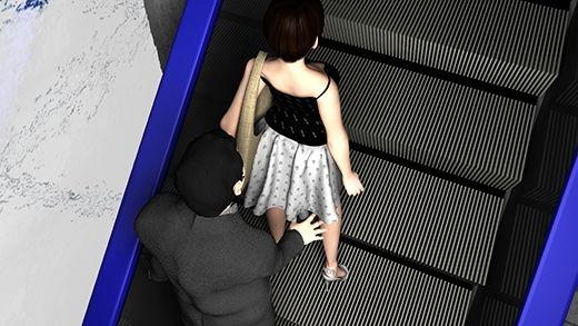 スカート内盗撮行為が多発しているというエスカレーターにて、防犯カメラが捉えたパンチラ盗撮行為の一部始終(視点と動画の「さらに」増えたデラックスGold版:サテン地・黒のハート柄パンティ編)
