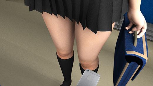 【★新技術!】早朝の電車内で通学中とおぼしき超・スカートの短い女子学生に遭遇。勃起に気付かれないかと思うくらいエロかったが、不自然に彼女のどまんまえに座ったサラリーマン風の男がスマホでスカート内盗撮をしていた。(超リアルパンティ(ピンク黒ハート)編)