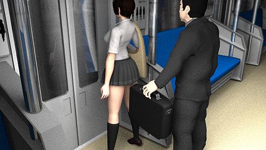 早朝の電車の中、マイクロミニスカートな女子学生を発見。ナマ脚があまりにキレイなのでスマホでコッソリ撮影していたら、挙動の怪しいサラリーマン風の男が、カバンに仕込んだカメラで堂々とスカート内のパンツ盗撮を始めた!(黒Tバック編)
