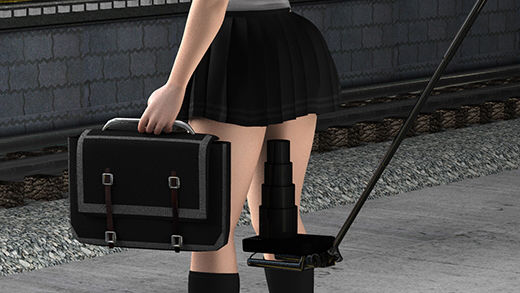 自撮り棒とズーム・高解像度撮影に対応したコンデジを組み合わせた最低の盗撮師。白昼堂々、駅のホームでミニスカートの女子学生のスカートの真下にカメラを差し込み、最高のズームでパンティの縫い目まで分かるような動画を撮っていた!(ピンクTバック)