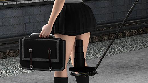 自撮り棒とズーム・高解像度撮影に対応したコンデジを組み合わせた最低の盗撮師。白昼堂々、駅のホームでミニスカートの女子学生のスカートの真下にカメラを差し込み、最高のズームでパンティの縫い目まで分かるような動画を撮っていた!(水色水玉)