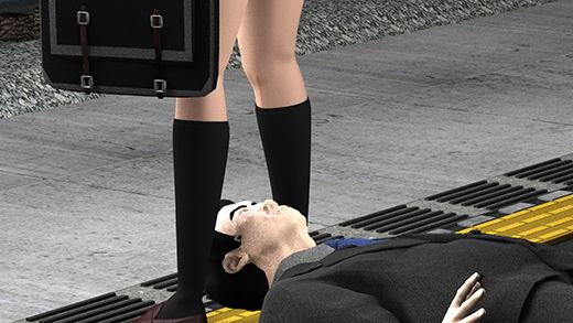 早朝の駅でマイクロミニスカートの女子学生を見つけ、仰向けになって彼女のスカートの中のパンツを肉眼...のサンプル画像2
