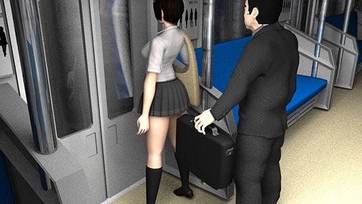 早朝の電車の中、マイクロミニスカートな女子学生を発見。ナマ脚があまりにキレイなのでスマホでコッソリ撮影していたら、挙動の怪しいサラリーマン風の男が、カバンに仕込んだカメラで堂々とスカート内のパンツ盗撮を始めた!(白黒ストライプパンティ編)