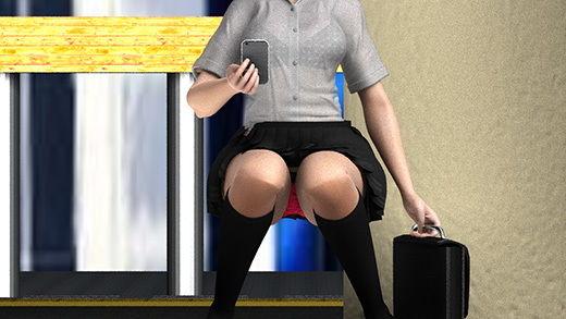 早朝の駅でスカートの超絶短い女子学生を見つけたのだが、ホームの側溝の中から彼女のスカートの中を堂々と覗いているとんでもない変態サラリーマンに気付いて驚愕!ヘッドフォンの音楽とスマホに夢中で全く気付かない彼女。(真っ赤な派手パンティ編)