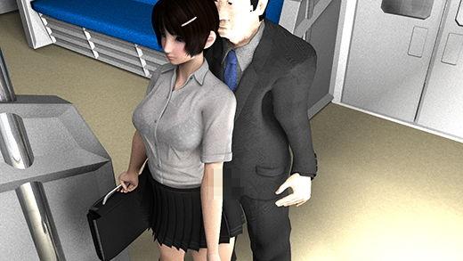 電車内でスカートの短い女子学生の真後ろに不自然に立っているサラリーマン風の男を怪しい、痴漢じゃな...のサンプル画像3