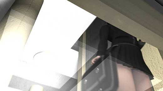 グリーン社に乗っていたらホームの端ギリギリの所に立っている超ミニスカートの女子学生ちゃんがいたために車両1階の座席からスカートの中の可愛いパンティをガッツリ見せて頂けちゃった件(フロントパンチラ黒い花柄パンティ編)