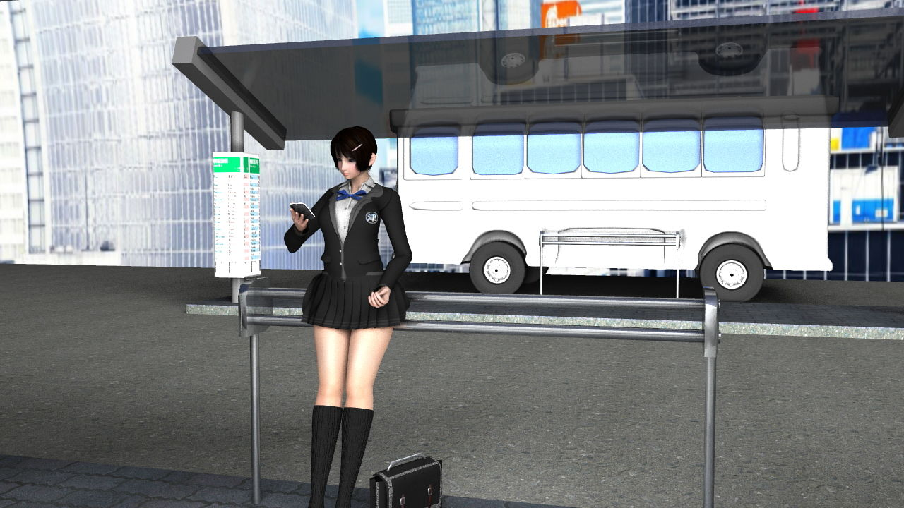 早朝のバス停で鬼のようなスカートの短さの女子学生さんを発見!座っている椅子の形状的に後ろから見れば絶対にパンティが見えると確信したのでさりげなく近付いて仰角アングルでナマ脚とパンツを盗撮しまくった。(PV:ピンク色サテン地ハート柄パンティ編)