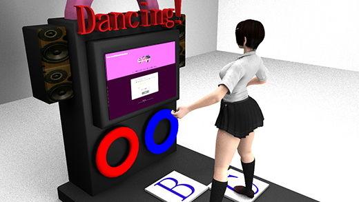 今度の仕事はゲーセンのダンスゲームの耐久性試験!マシンに乗って踊るも床に仕掛けられた隠しカメラによってスカート内のパンティを見事に真下から盗撮されてしまった激ミニちゃん。ぷるぷる揺れるフトモモと尻肉がエロ過ぎる件(PV01:黒の花柄パンティ編)