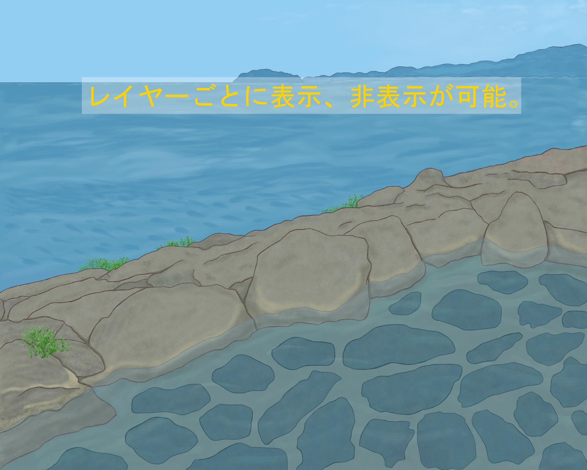 背景イラスト「桜舞う露天風呂」セット