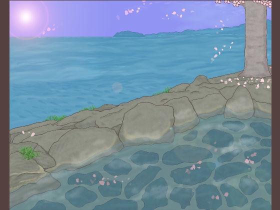 【さくら 同人】背景イラスト「桜舞う露天風呂」セット